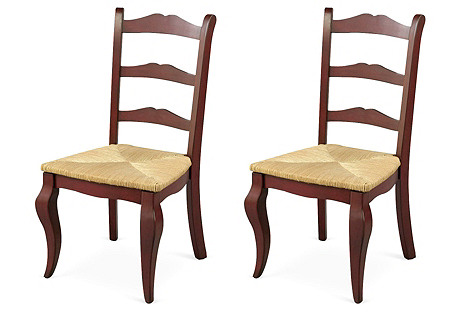 Red Ladder-Back Chairs, Pair