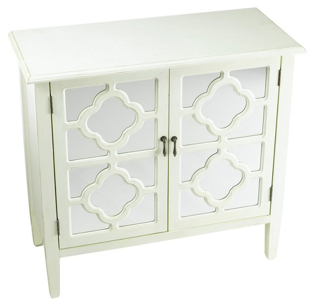 Sayre 2-Door Mirrored Cabinet, White