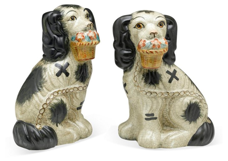 Pair of Dogs w/ Flower Baskets