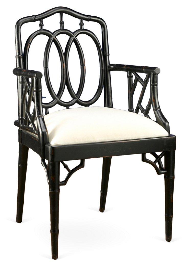 Bamboo Armchair, Black