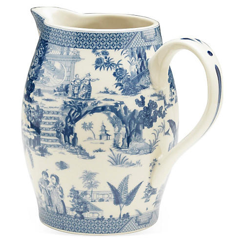 "6"" Transferware Pitcher, Blue/White"