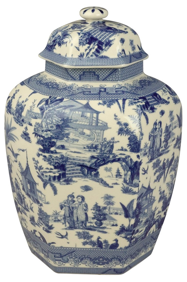 "10"" Transferware Canister, Blue/White"