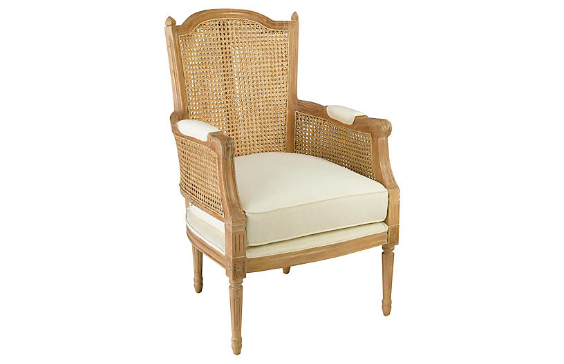 Noreen Accent Chair, Natural/Off-White Linen