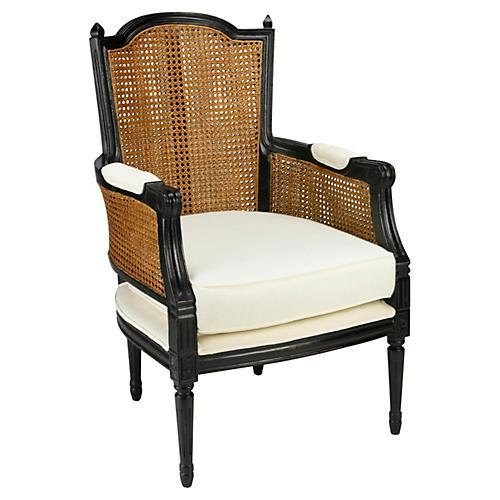 Noreen Accent Chair, Honey/Off-White Linen