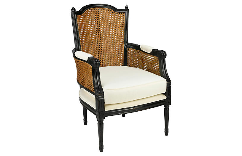 Noreen Linen Armchair - Black