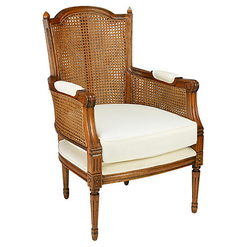 Noreen Accent Chair, Caramel/Off-White Linen