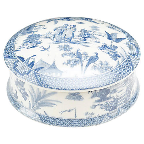 "5"" Transferware Box, Blue"
