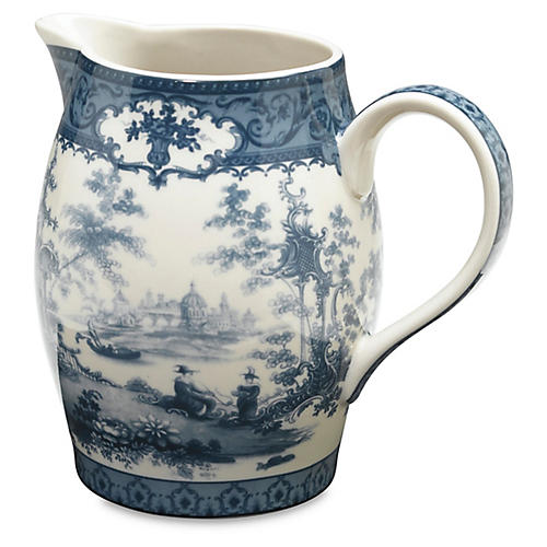 Chinoiserie Lake Decorative Pitcher, Blue