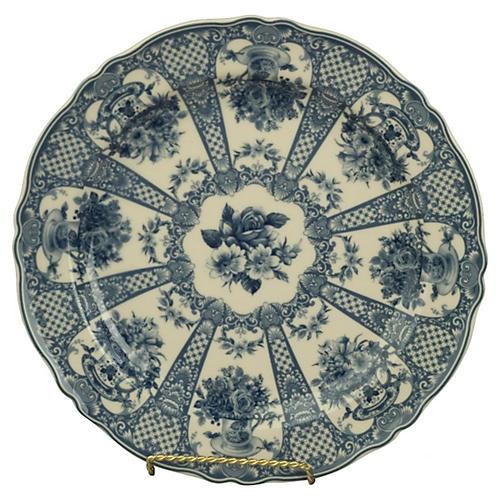 """10"""" Mathilde Plate, Blue/White"""