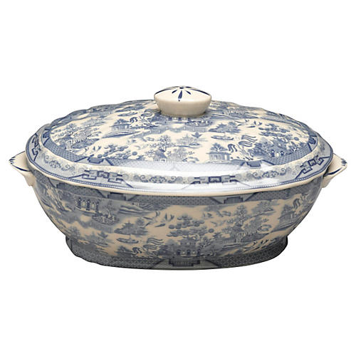 "12"" Louvel Tureen, Blue/White"