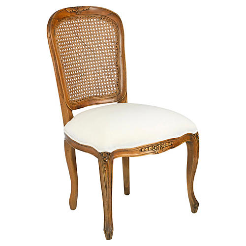 Gable Caned-Back Side Chair, Ivory Linen