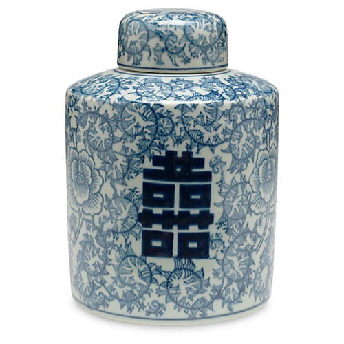 "8"" Jolie Jar, Blue/White"