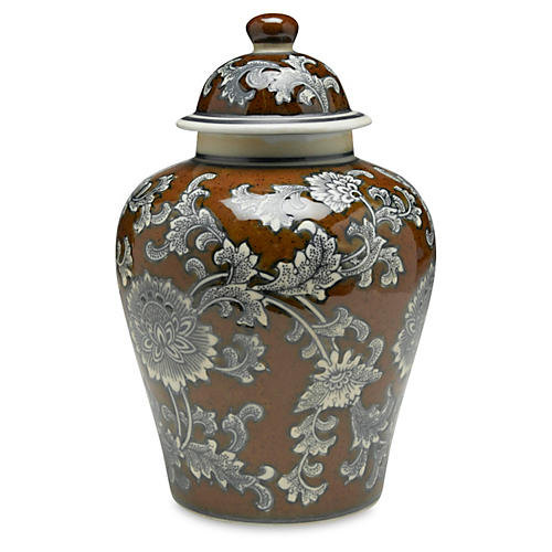 "10"" Florent Ginger Jar, Brown/Gray"