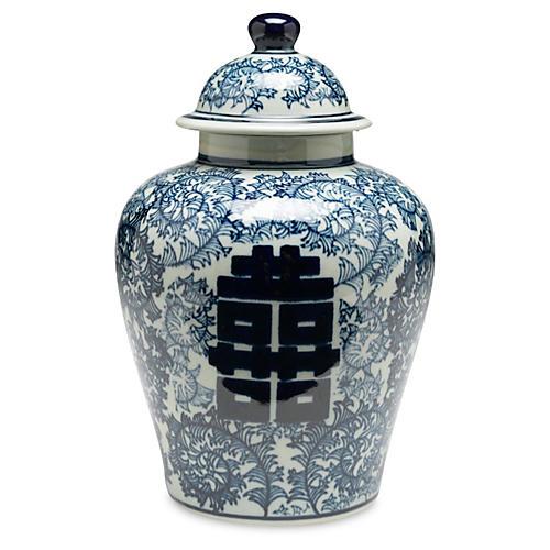 """10"""" Jolie Ginger Jar, Blue/White"""