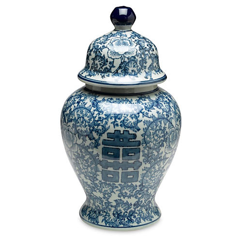 "14"" Jolie Ginger Jar, Blue/White"