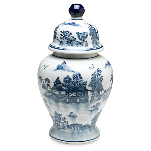 "14"" Lavieille Ginger Jar, Blue/White"