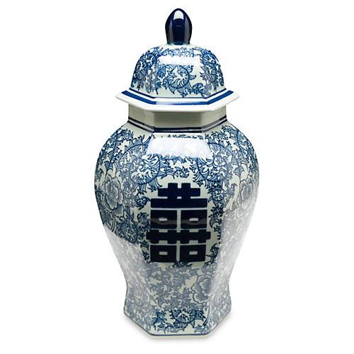 """14"""" Jolie Ginger Jar, Blue/White"""