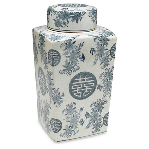 "12"" Bazille Square Jar, Blue/White"