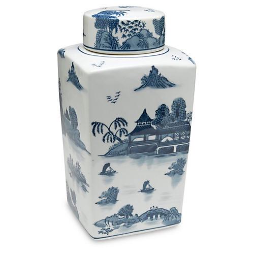 """12"""" Lavieille Square Jar, Blue/White"""