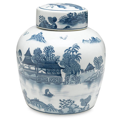 "9"" Lavieille Jar, Blue/White"