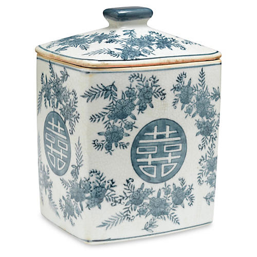 "8"" Bazille Square Jar, Blue/White"