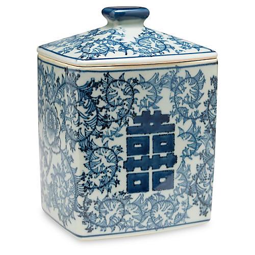 "8"" Lancret Square Jar, Blue/White"