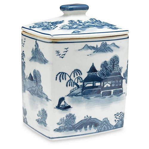 """8"""" Lavieille Square Jar, Blue/White"""