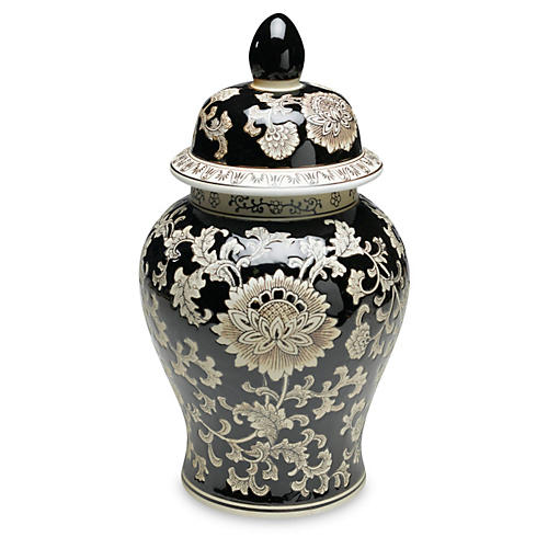 "18"" Florent Ginger Jar, Black/Cream"