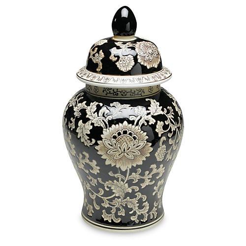 "18"" Florent Ginger Jar, Black/Cream"