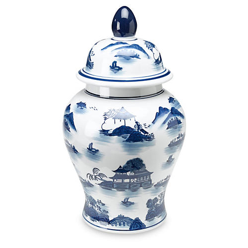 "17"" Lavieille Ginger Jar, Blue/White"