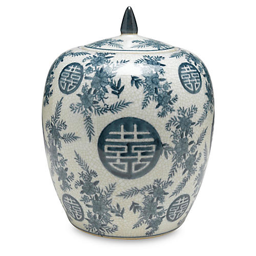 "10"" Bazille Jar, Blue/White"