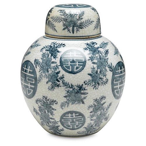 "8"" Bazille Jar, Blue/White"