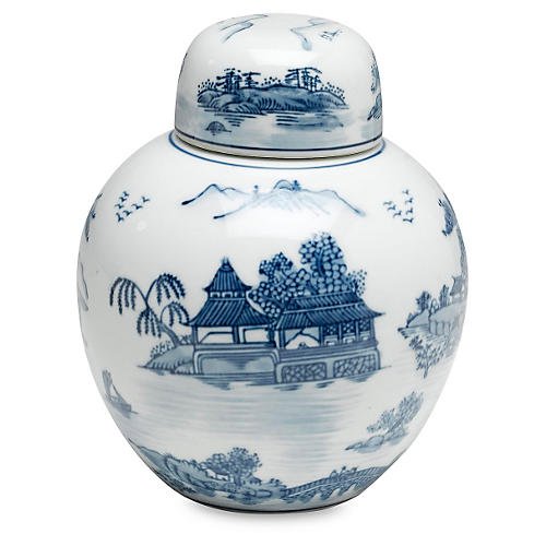 "8"" Marisot Jar, Blue/White"