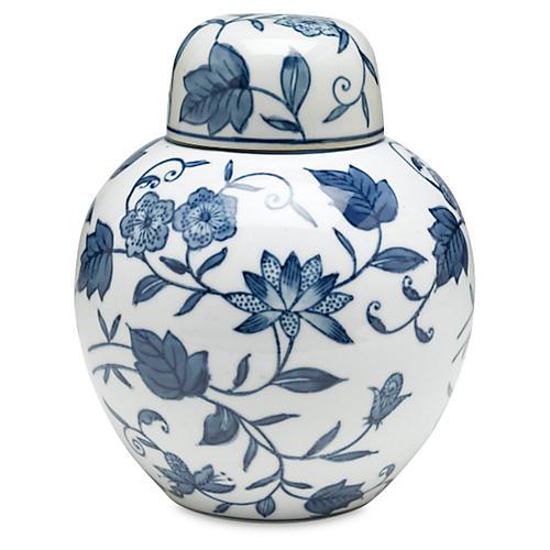 "8"" Bertin Floral Jar, Blue/White"