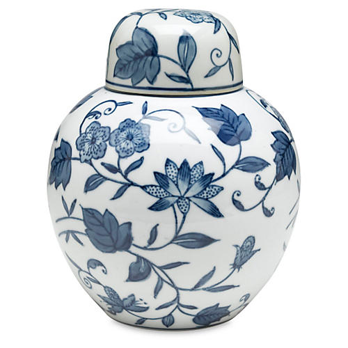 "8"" Bertin Floral Jar, Blue/White"