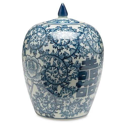 """8"""" Jolie Jar, Blue/White"""