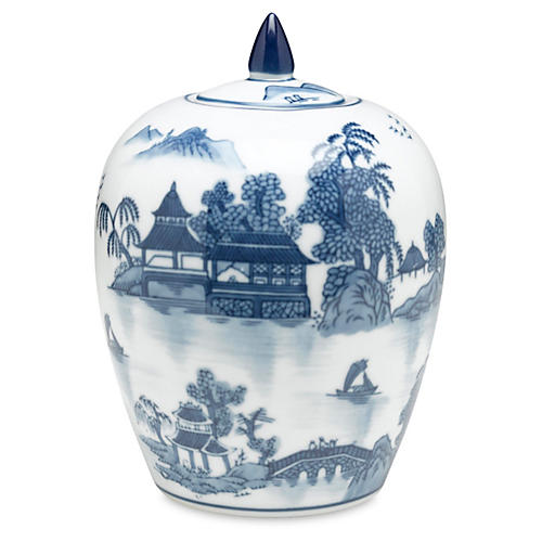 "8"" Lavieille Jar, Blue/White"