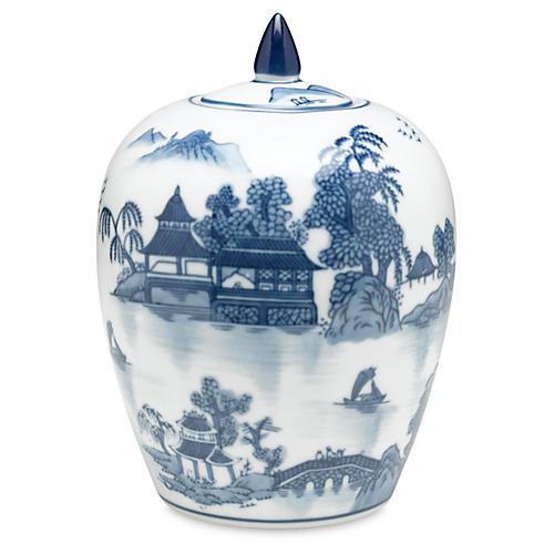 "8"" Lavieille Jar, Blue/White"