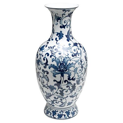 "18"" Floral Vase, Blue/White"