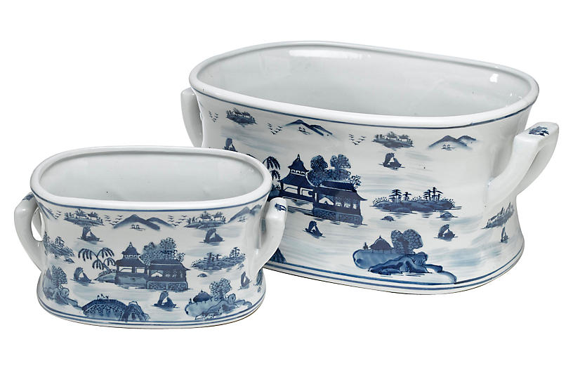 Asst. of 2 Willow Bowls, Blue/White