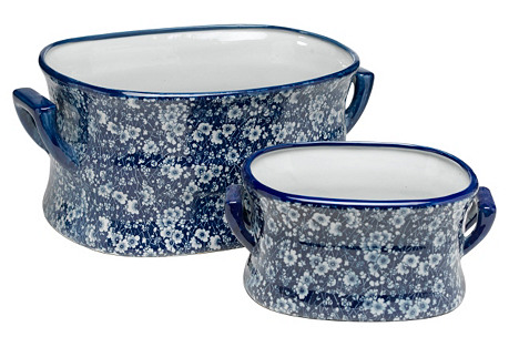 Asst. of 2 Calico Bowls, Blue/White