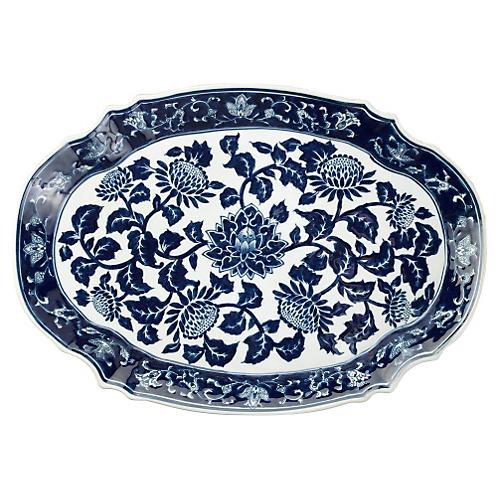 "19"" Floral Platter, Blue/White"