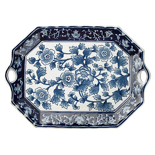 "19"" Handled Floral Platter, Blue/White"