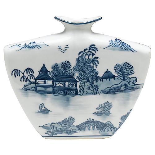 "9"" Willow Vase, Blue/White"