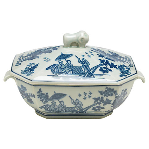 "10"" Tureen w/ Lid, Blue/White"
