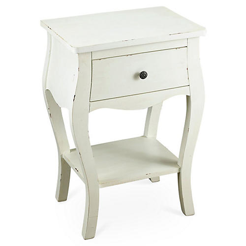 Lena 2-Shelf Nightstand, White