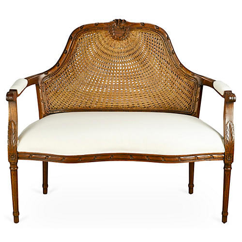 Serena Cane Settee, Ivory Linen