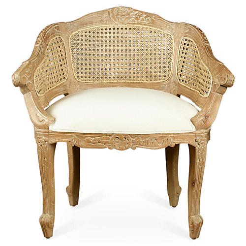 Wicker-Back Slipper Chair, Beige/Cream Linen
