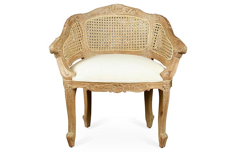 Wicker-Back Slipper Chair, Beige/Cream Linen