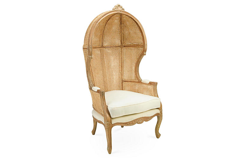 Eliza Canopy Chair, Beige/Cream Linen